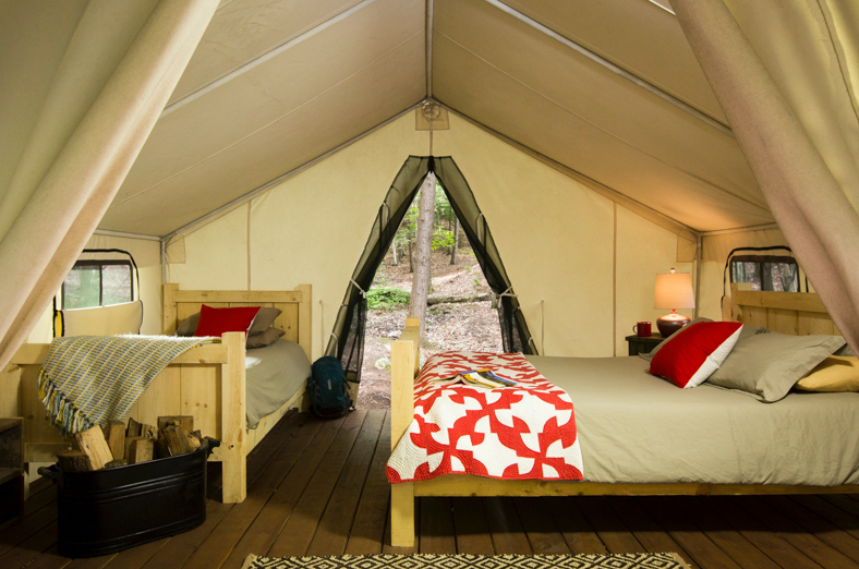 Interior of a camp tent with beds