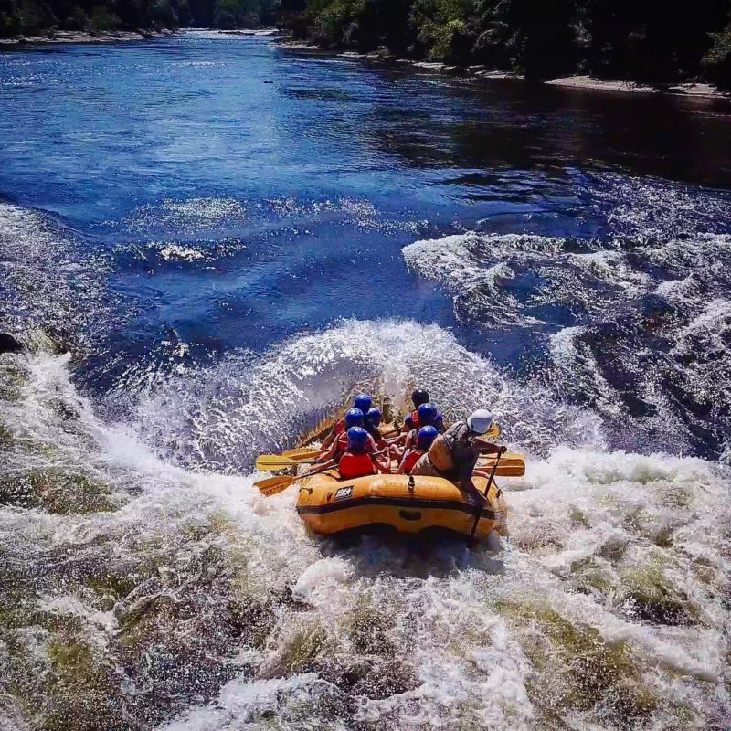 Whitewater rafting boat in the water