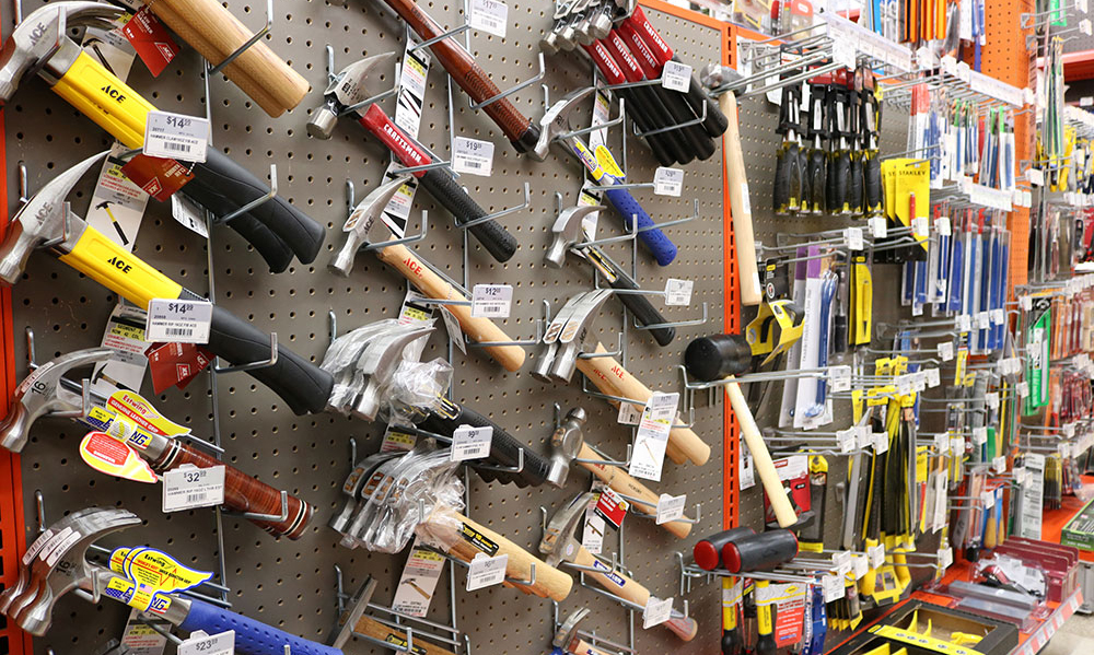 Wall of hammers at Braley and Noxon Hardware