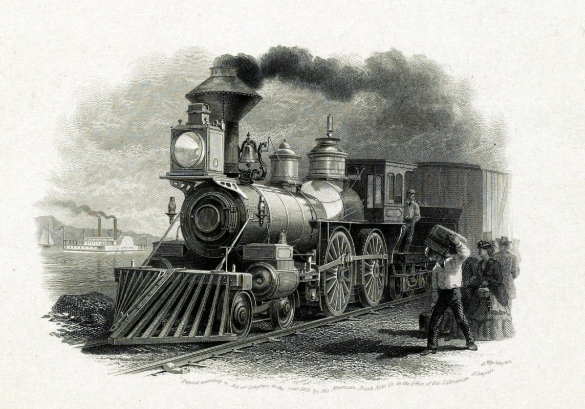 Illustration of a steam engine for Pacific Railroad