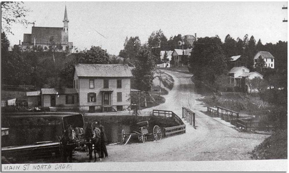 Old photograph of Main Street in North Creek, NY