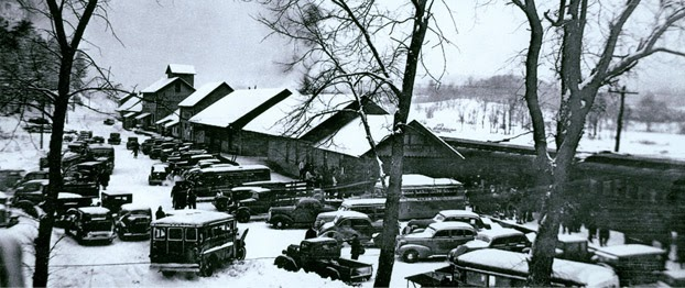 Old, historic picture of the North Creek Depot