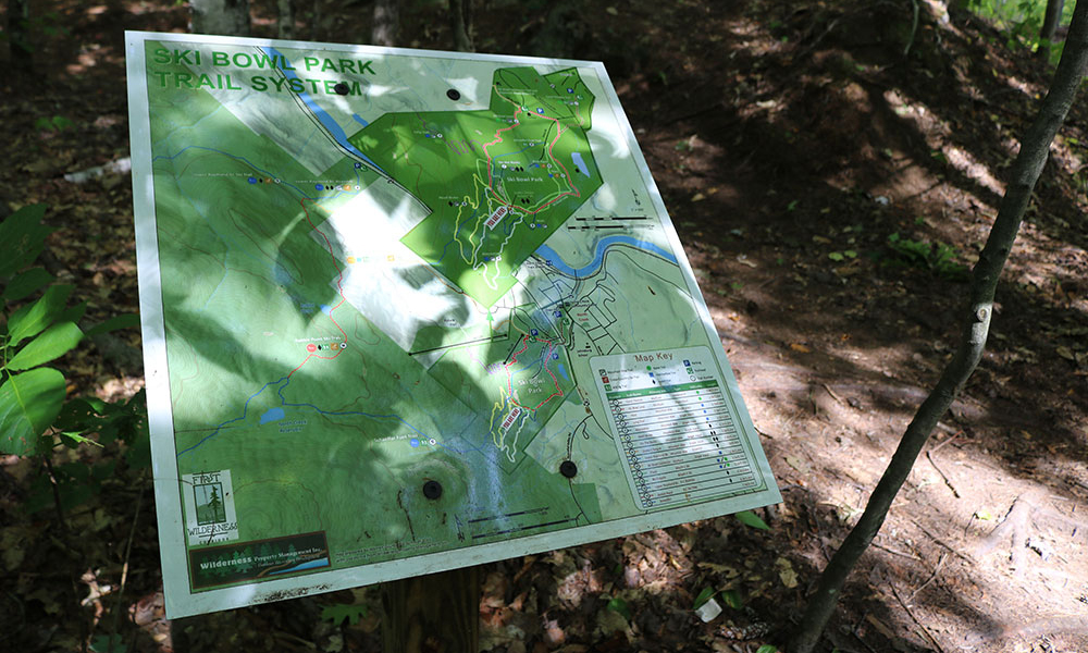 Trail map of North Creek Ski Bowl Trails