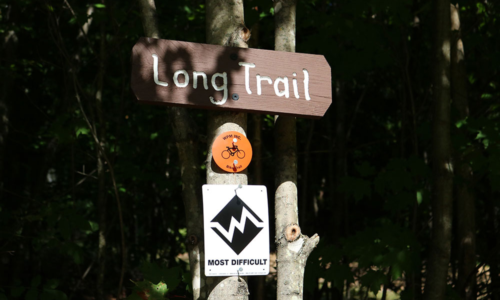 Sign for Long Trail in North Creek Ski Bowl Trails
