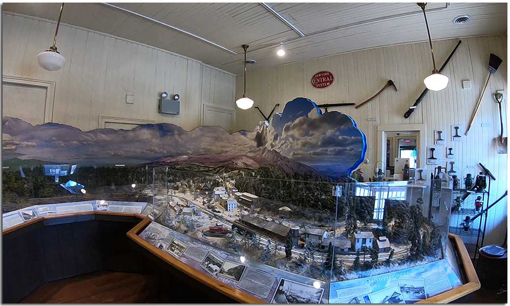 Model train diorama in North Creek Depot Museum