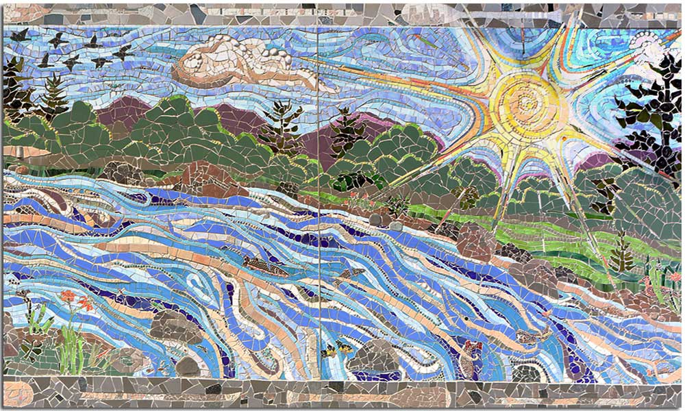 Sun over river mosaic - North Creek Mosaic Project