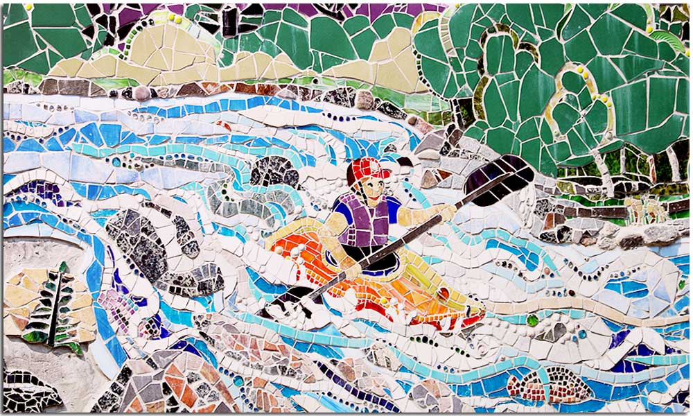 Kayaker in river from North Creek Mosaic Project