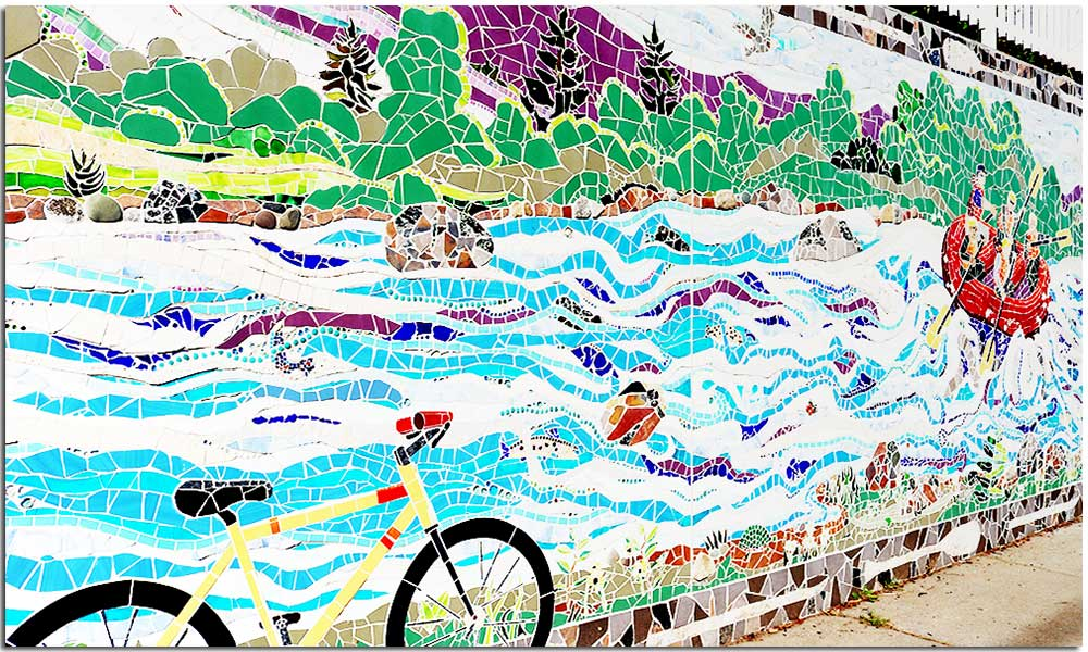 Mosaic bicycle on Main Street in North Creek, New York