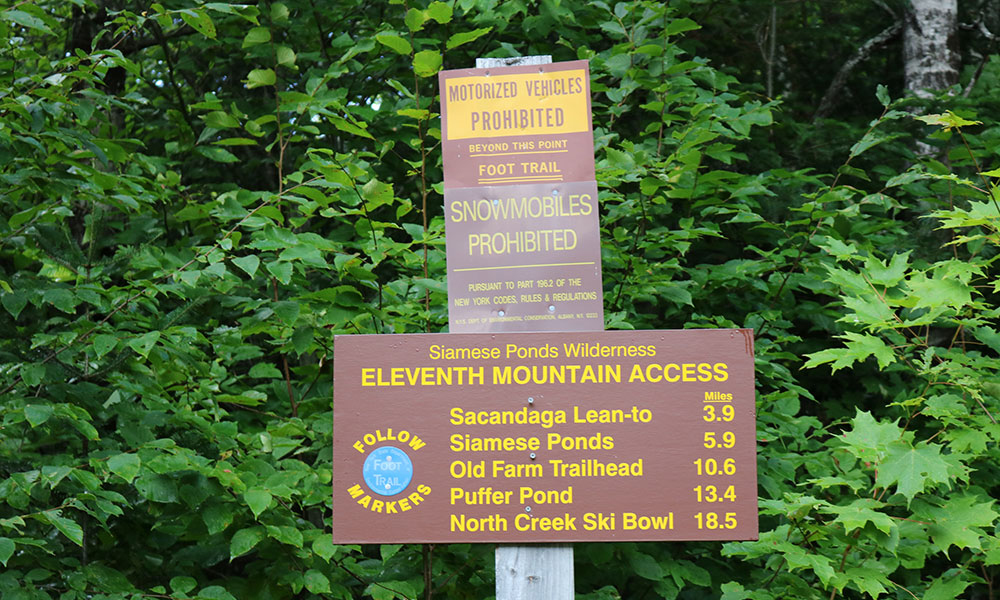 Eleventh Mountain access to the Siamese Pond Trail