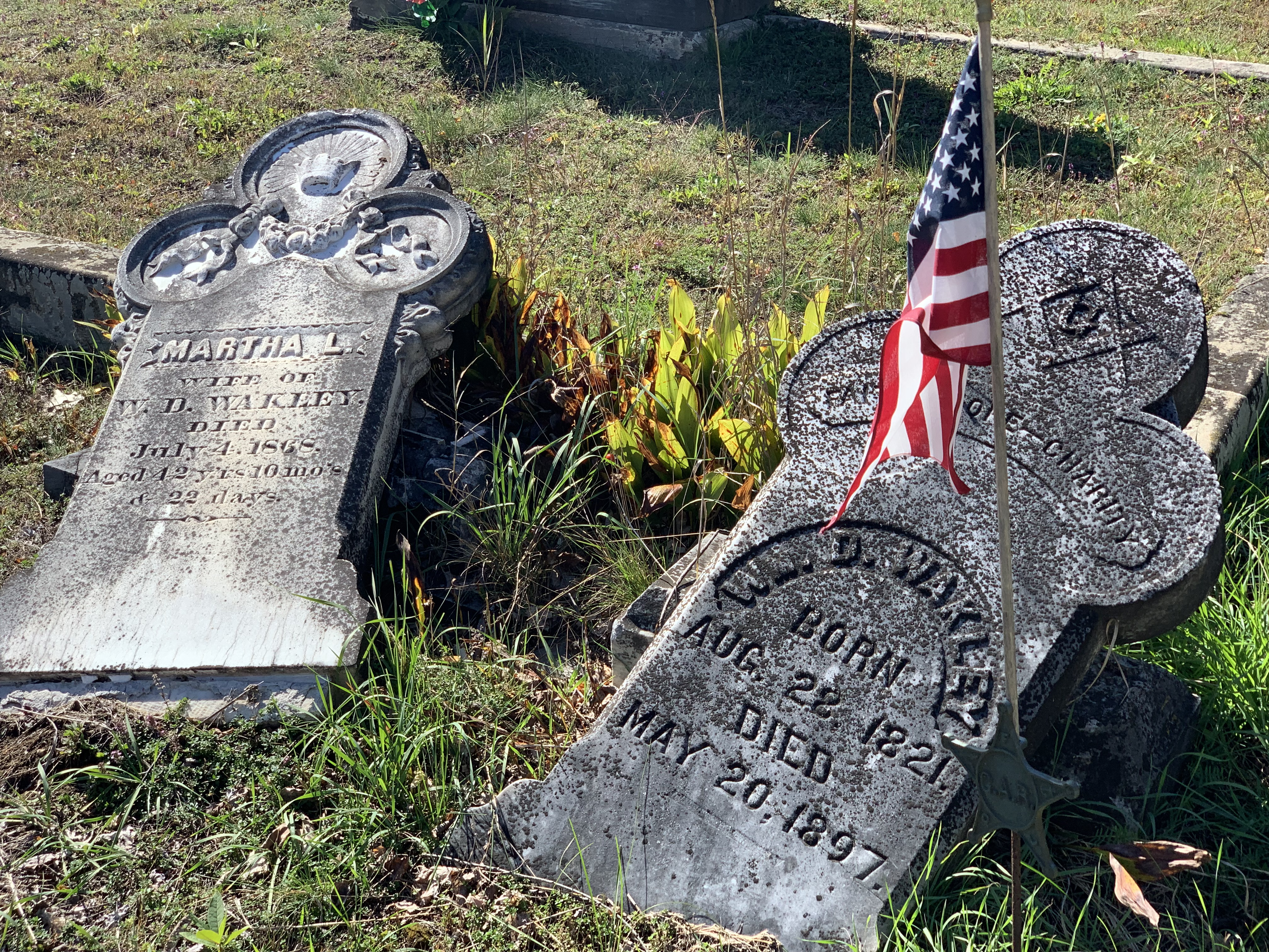 Two old headstones knocked over at North Creek Union Cemetery in North Creek, NY