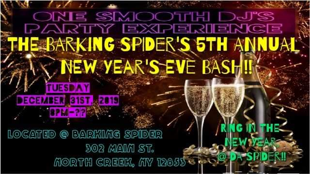 Infographic about the Barking Spider's NYE Bash on December 31