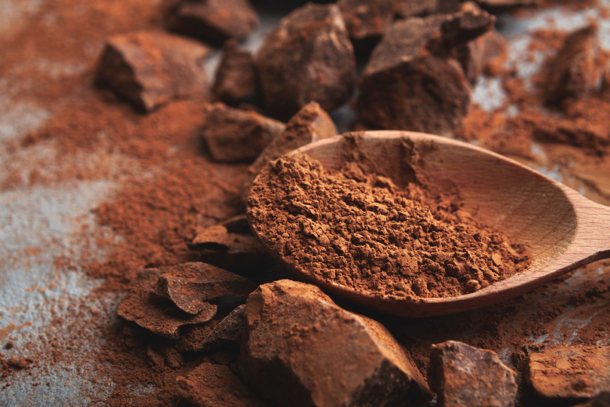 Chocolate pieces and cocoa