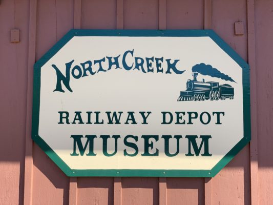 Sign for the North Creek Railway Depot Museum in North Creek, NY