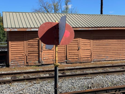 Train flag indicator and barn at North Creek Depot Museum, North Creek, NY