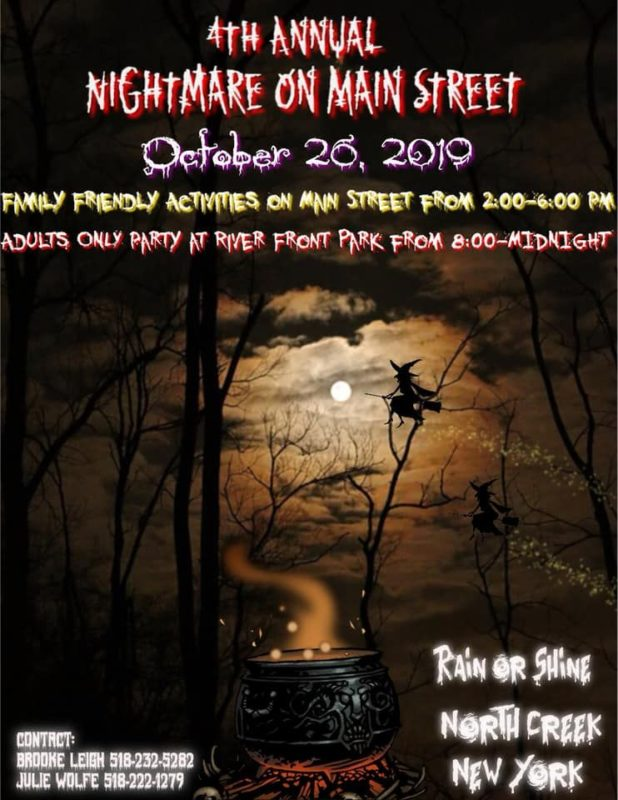 Poster for Nightmare onMain Street, October 26, 2019 2:00 p.m. to midnight 273 Main Street, North Creek, NY