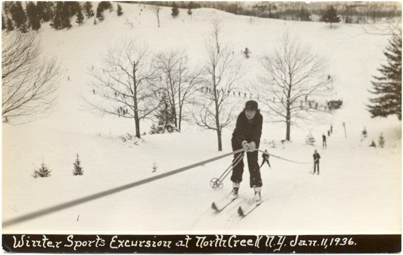 People on a tow line at North Creek Ski Bowl dated 1936