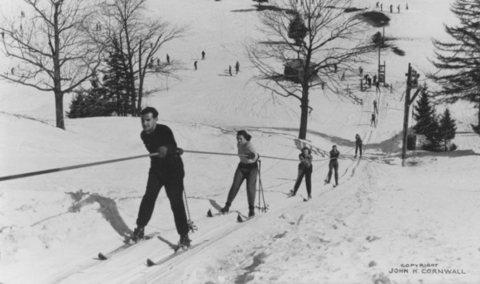 Old photo of skiers at North Creek Ski Bowl, NY