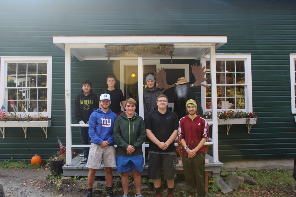 Tour guides. Left to right, back row: Brian Hewitt, Camron Brown-Allen, Dylan Moore. Front row: Jaxson Roblee, Noah Pooler, Caleb Buck, and Aidan Connelly.