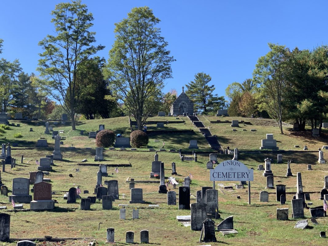 A wide photo of North Creek Union Cemetery in North Creek, NY